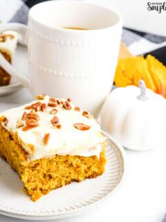 Slice of Pumpkin Cake on white plate