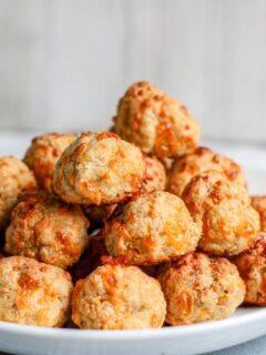 Keto Cream Cheese Sausage Balls On Plate