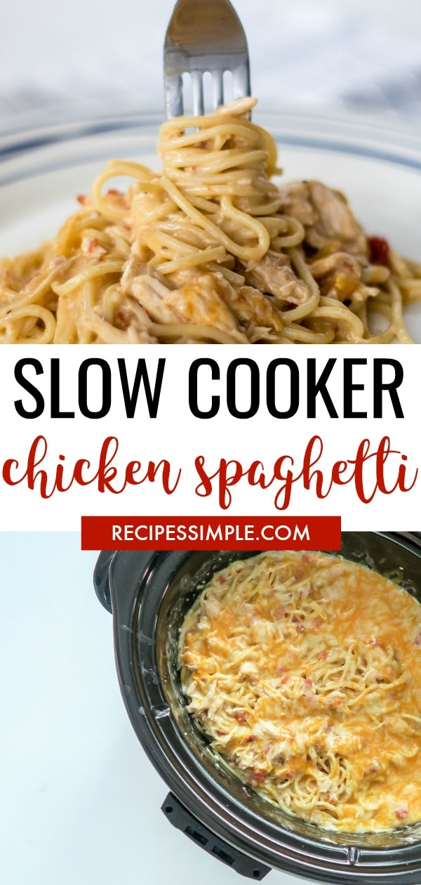 Slow Cooker Chicken Rotel Spaghetti