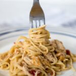 Slow Cooker Rotel Chicken Spaghetti