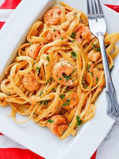 Bang Bang Shrimp Pasta on plate