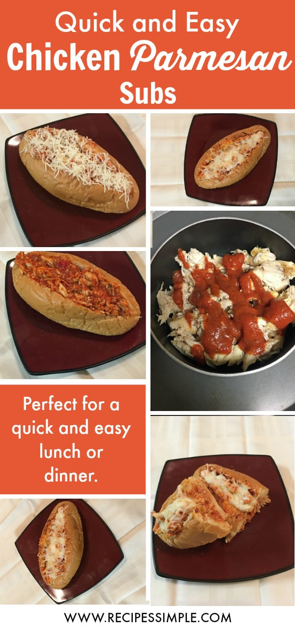Quick and Easy Chicken Parmesan Subs! #chicken #recipes