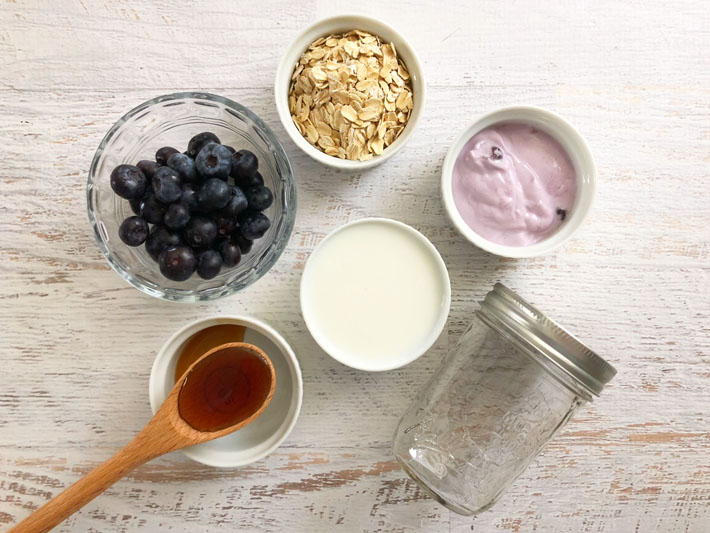 Overnight Blueberry Oats Ingredients