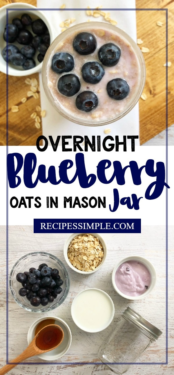 Overnight Blueberry Oats in Mason Jar
