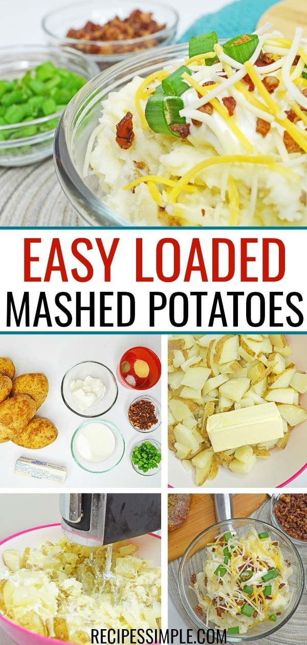 This Loaded Mashed Potatoes recipe is a creamy goodness of cheddar cheese, bacon, sour cream and more!  #mashedpotatoes #potatorecipes #sidedishes