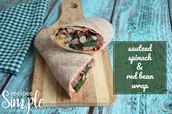 Spinach and red beans wrap