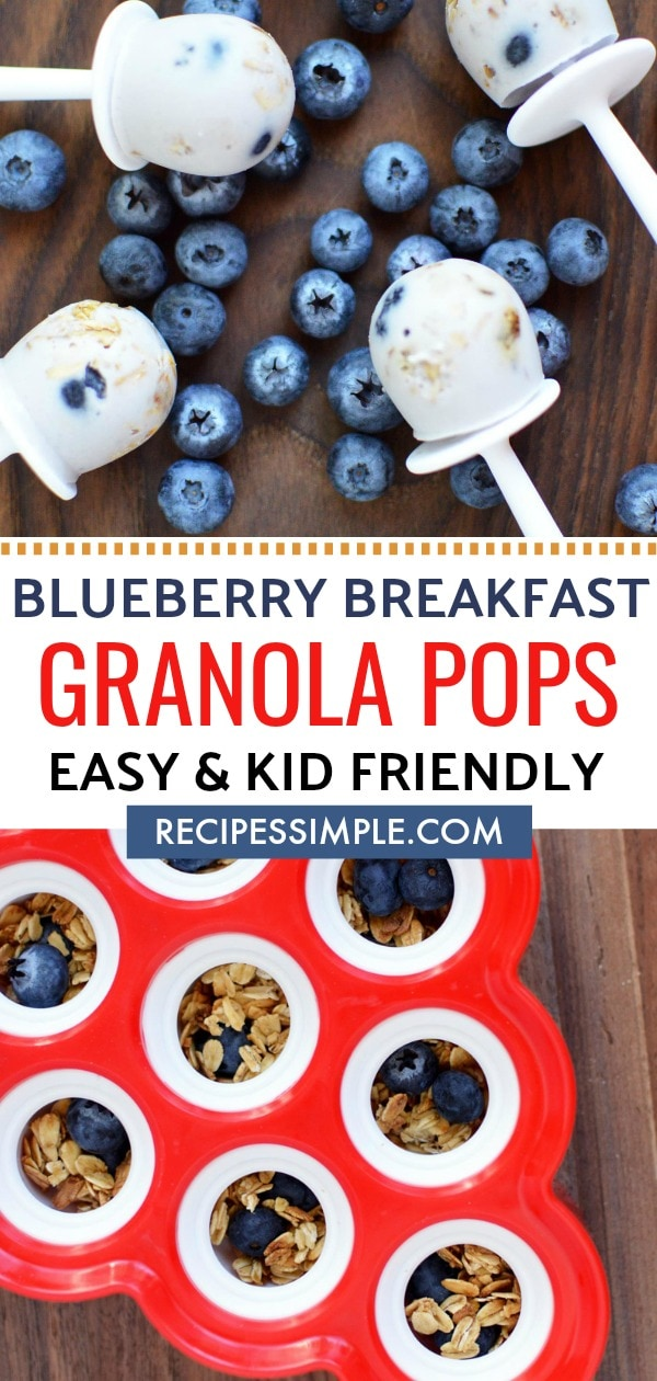 Quick and easy breakfast Granola Pops make breakfast fun again. These are the perfect kid friendly breakfast on the go. #breakfastrecipes #granola #popsicle #frozentreat