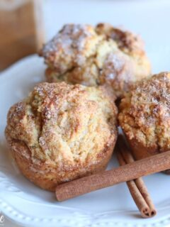 Cinnamon Cream Cheese Muffins on plate