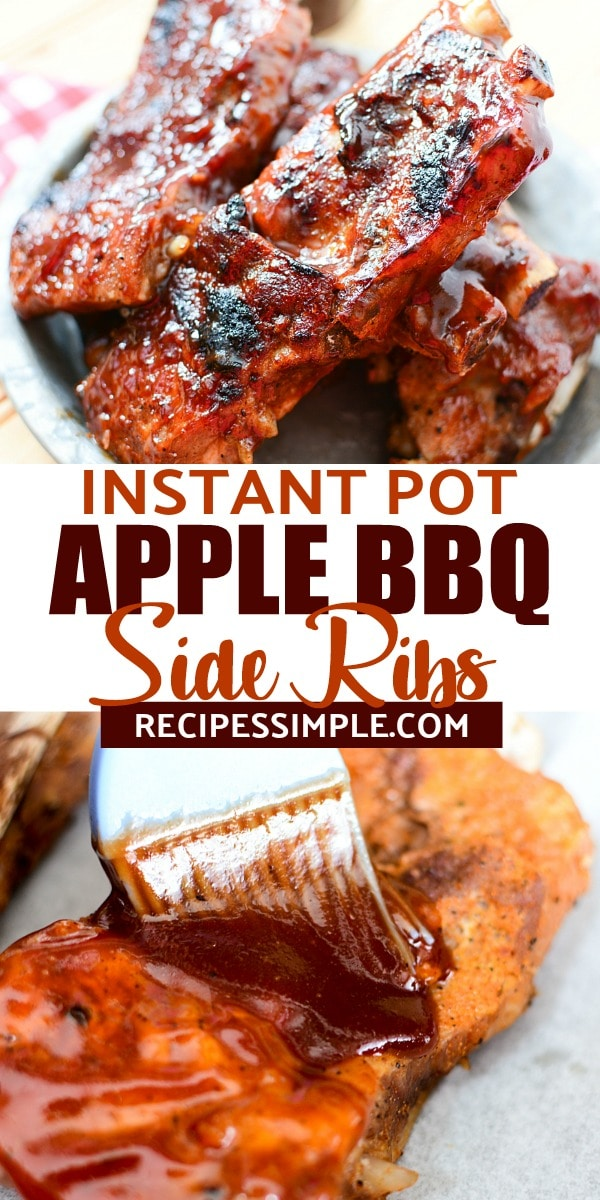 Try these delicious Instant Pot Apple BBQ Side Ribs for dinner! They are finger-licking good with tender meat that falls of the bone. #instantpotribs #instantpotrecipes  #instantpotbbqribs #instantpotribspork #bbqribsrecipes #barbequeribs