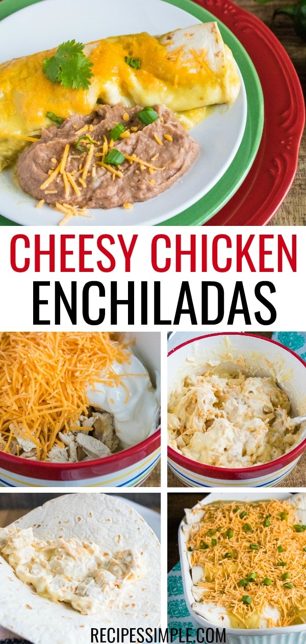 Delicious cheesy creamy chicken enchiladas with only six ingredients will be a family favorite easy dinner. #chickenenchiladas #chickenrecipes #mexicanfoodrecipes