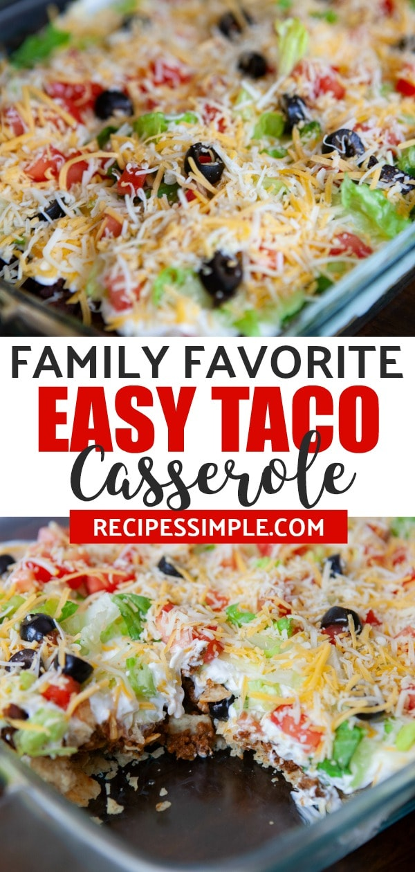 This taco casserole is a family favorite dinner that is full of delicious Tex-Mex flavors. #tacocasserole #tacocasserolebake #mexicanfoodrecipes  #casserolerecipes #recipessimple
