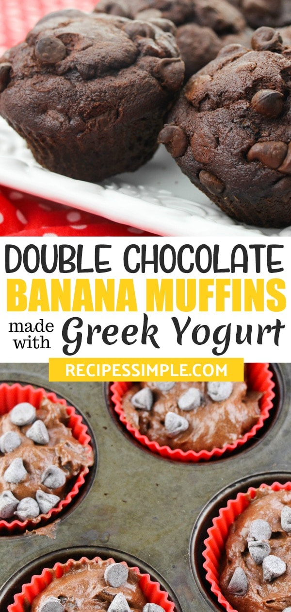 These Double Chocolate Banana Muffins are made with greek yogurt and they are incredibly moist and full of flavor! #chocolatebananamuffins #chocolatemuffinrecipes #bananamuffins #muffinswithgreekyogurt