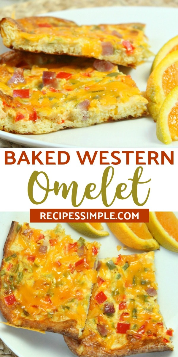 This Baked Western Omelet is the perfect breakfast dish for busy mornings, a special brunch, any holiday or whenever you need a quick and easy dinner. #omeleterecipes #bakedwesternomelet #bakedomelette #breakfastrecipes #eggrecipes #bakedomeletterecipe
