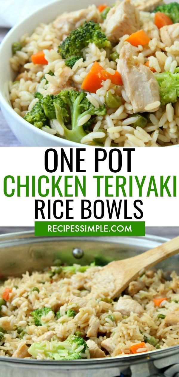 One Pot Chicken Teriyaki Rice Bowls