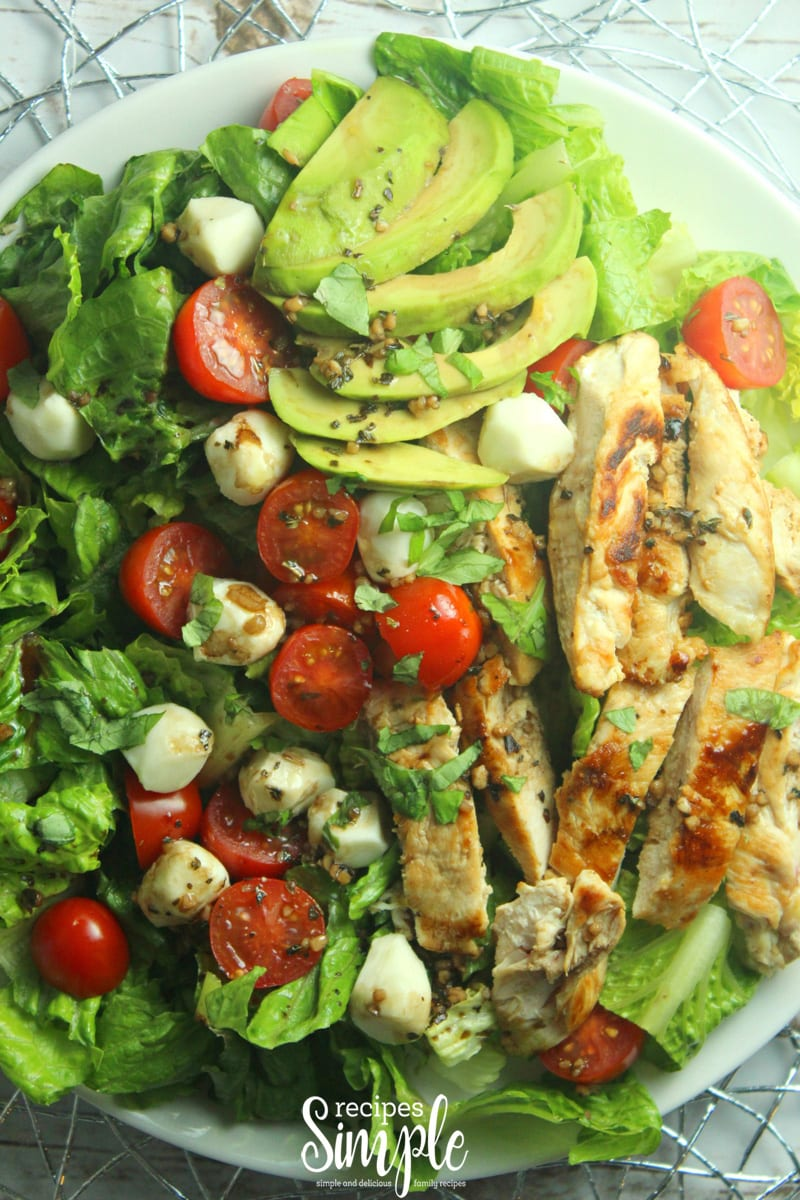 Balsamic Vinaigrette Chicken Avocado Caprese Salad