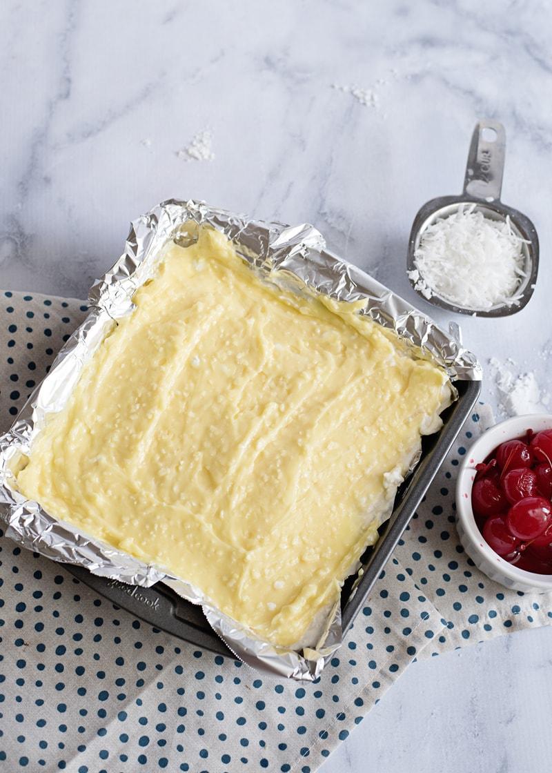 Cream Cheese Layer in Pina Colada Bars