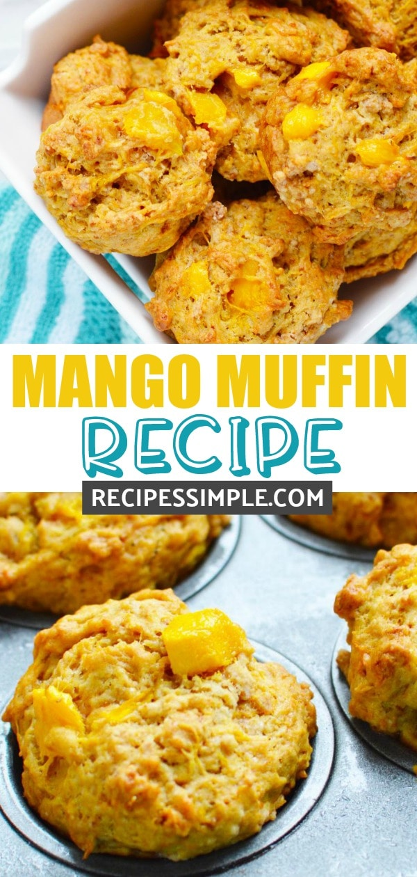 These Mango Muffins are so moist and delicious and are perfect for breakfast, brunch or snacks. #muffins #muffinrecipes #mangomuffins #mangorecipes #breakfastrecipes