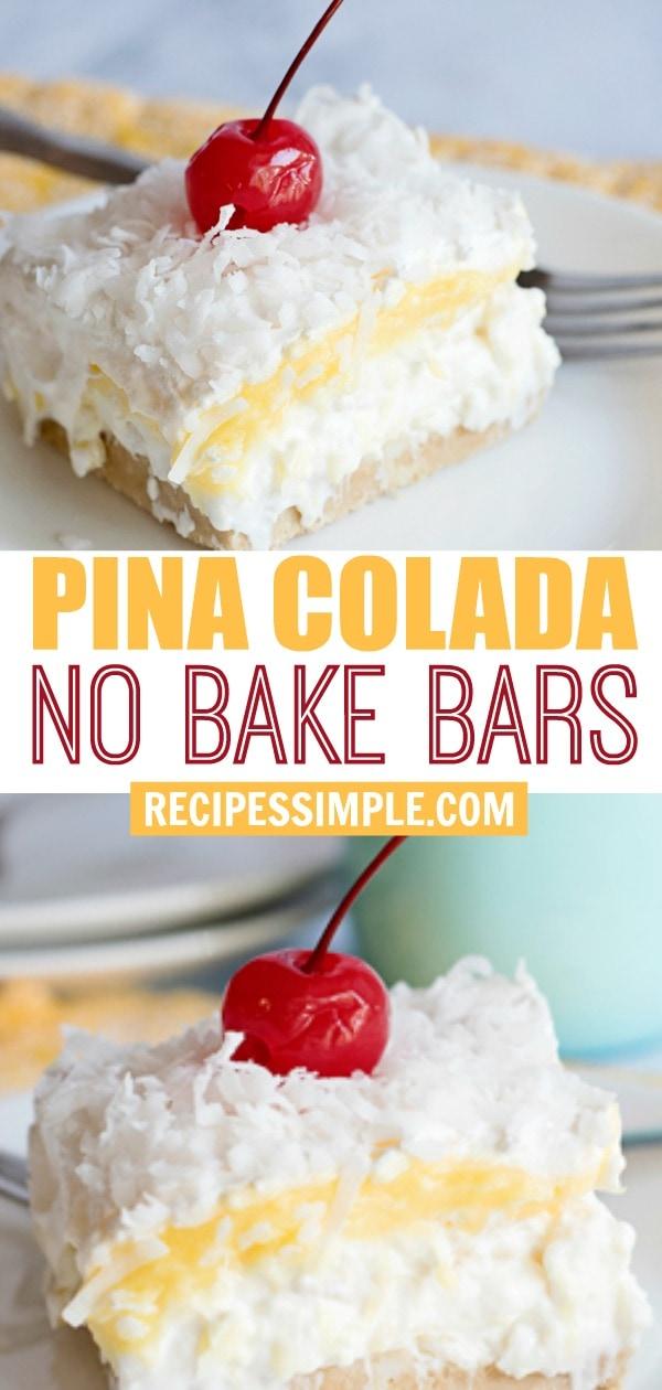Easy Pina Colada No Bake Bars Recipe