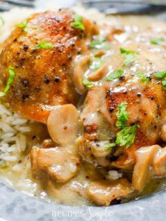 Easy Slow Cooker Mushroom Mustard Chicken