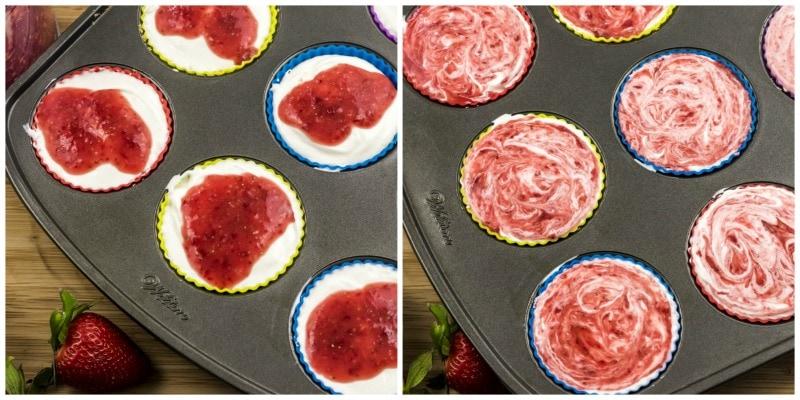 Strawberry Lemonade Mini Cheesecakes In Muffin pan