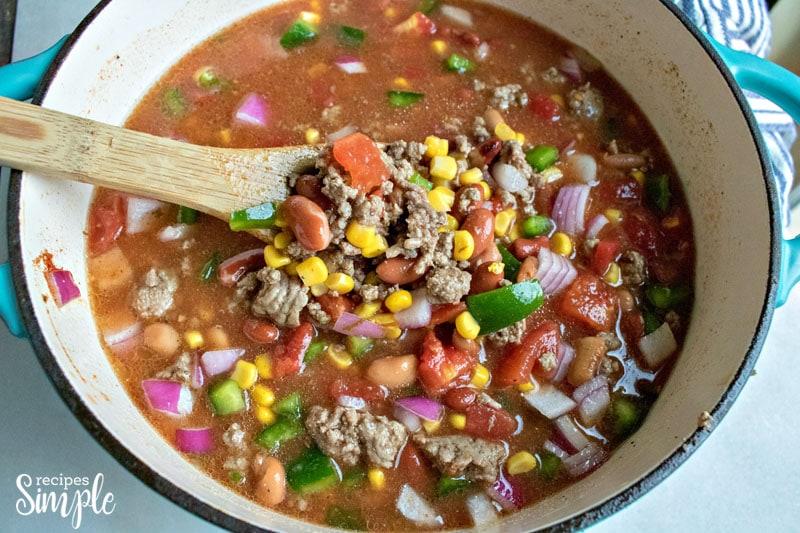 Tex Mex Hamburger Soup Cooking