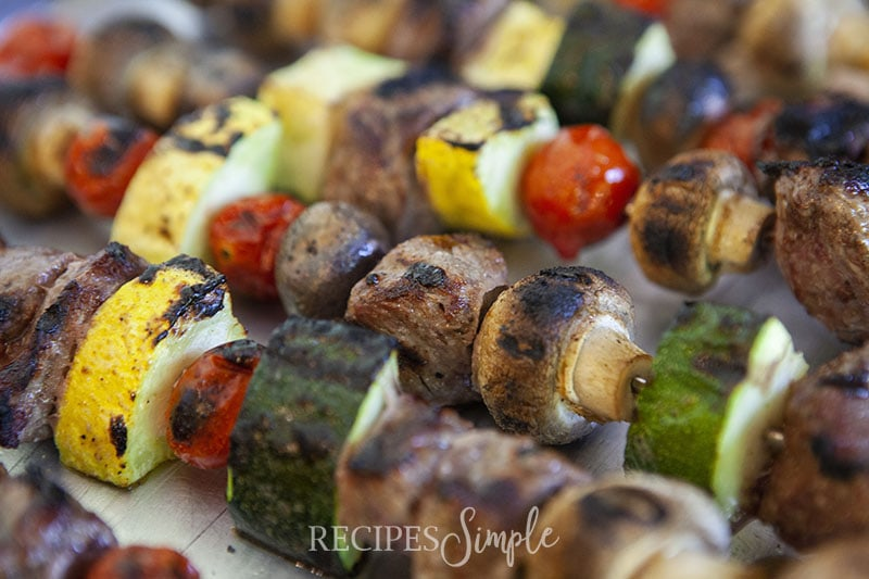 These grilled beef & veggie kabobs are the PERFECT dinner for the end of summer! They are so rich in smokey meaty flavor and absolutely perfect for hanging out in the backyard for some family time. You are going to LOVE these beef kabobs!