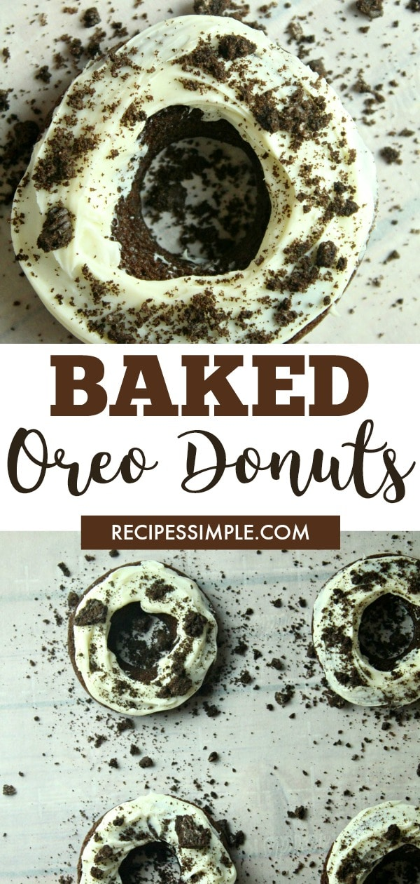 Baked Oreo Donuts are the perfect chocolate donut indulgence with a creamy frosting topped with a sprinkling of crushed Oreos. #bakeddonuts #oreodonutsrecipe  #dessert  #bakeddonutsrecipe #bakedoreodoughnut #oreodonutsbaked #bakeddonutswithdonutpan