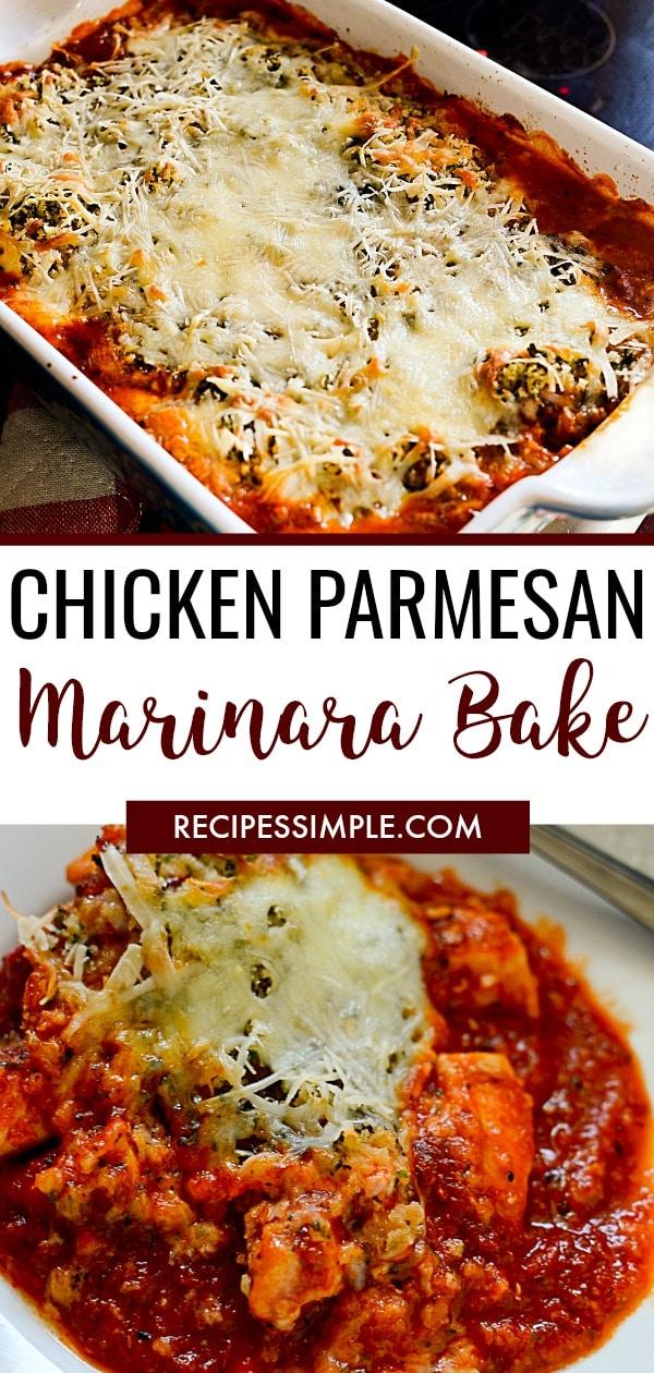 Easy Chicken Parmesan Marinara Bake