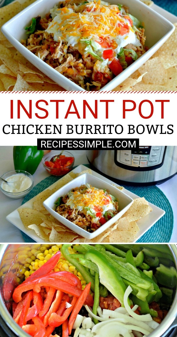 Easy Instant Pot Chicken Burrito Bowls