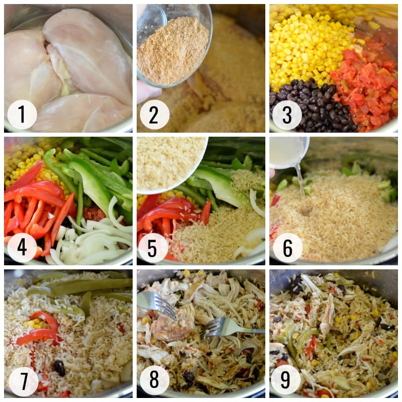 Instant Pot Chicken Burrito Bowls Process Steps