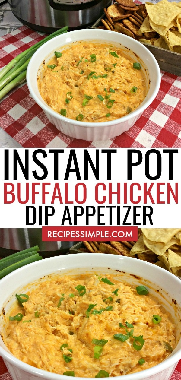 Easy cheesy Instant Pot Buffalo Chicken Dip is a quick and delicious appetizer that is perfect for game day, holidays and parties. You must try this perfectly flavored dip! #instantpotrecipes #instantpotchicken #buffalochickendip #instantpotappetizers #instantpotdips