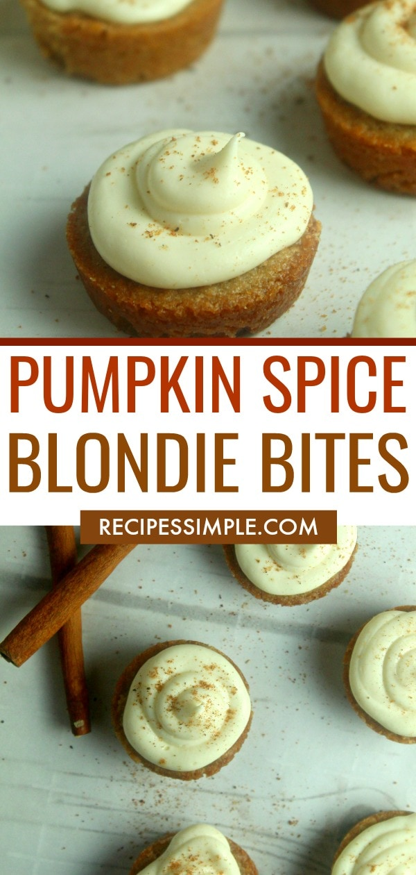 These Pumpkin Spice Blondie Bites with cream cheese icing are the perfect flavors of Fall and are a quick and easy dessert to make that everyone will love. #pumpkinrecipes #blondiesrecipes #desserts