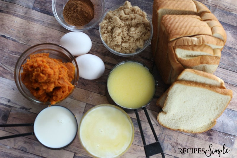 Pumpkin Maple Breading Pudding Ingredients