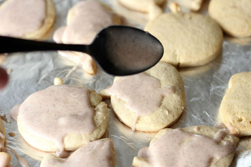 Pumpkin Spice Maple Sugar Cookies Adding Icing