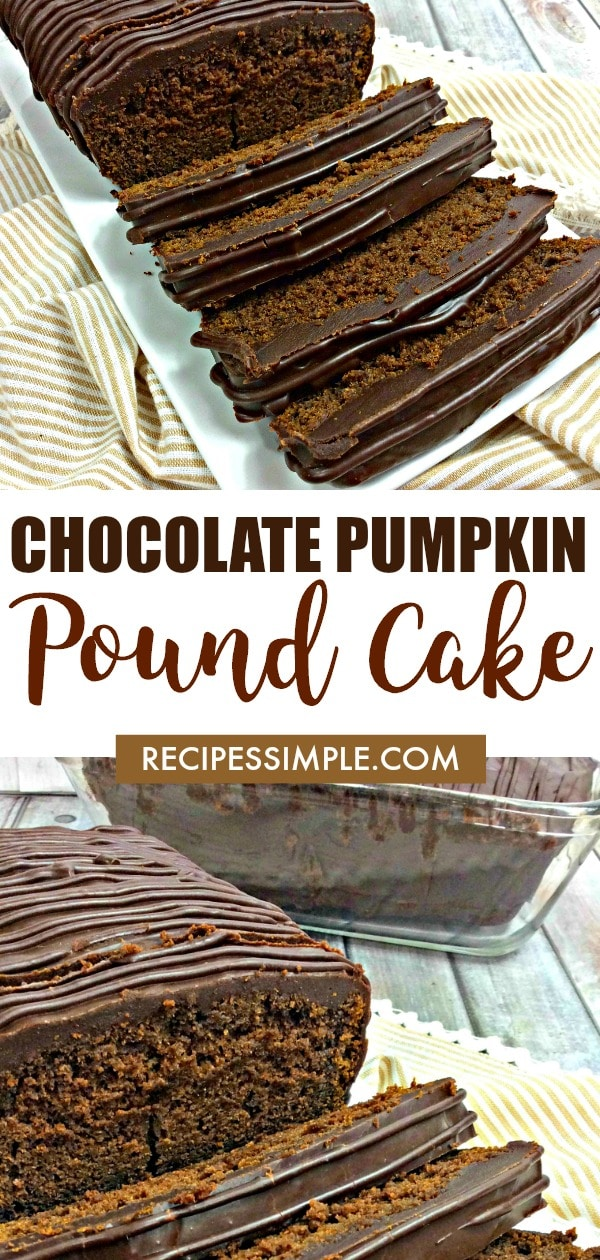 This rich Chocolate Pumpkin Pound Cake is a must make dessert that is moist and delicious with a hint of pumpkin and a decadent dark chocolate flavor. #poundcakerecipes #chocolatedesserts #pumpkinrecipes