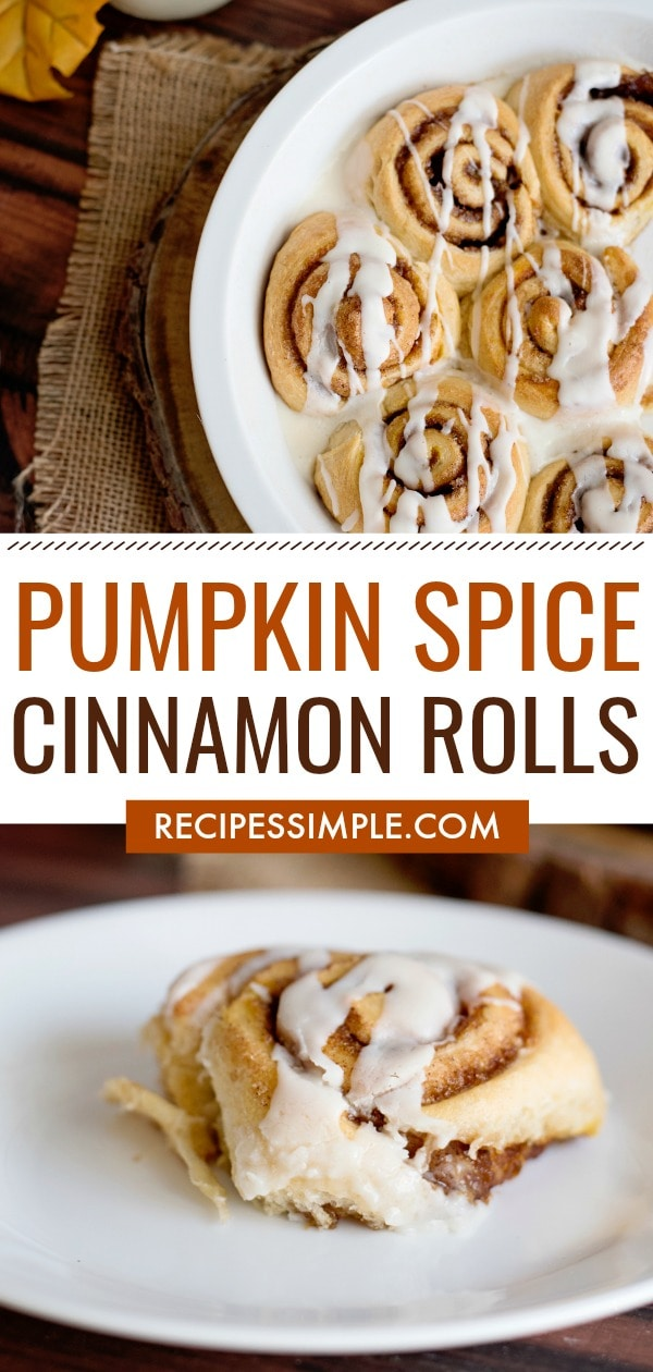 These Pumpkin Spice Cinnamon Rolls with cream cheese icing are delicious and so easy! They are made with crescent rolls and make the perfect fall breakfast, brunch or dessert. #cinnamonrolls #pumpkinrecipes
