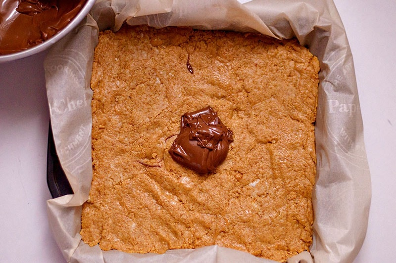 Chocolate Peanut Butter Bars Topping