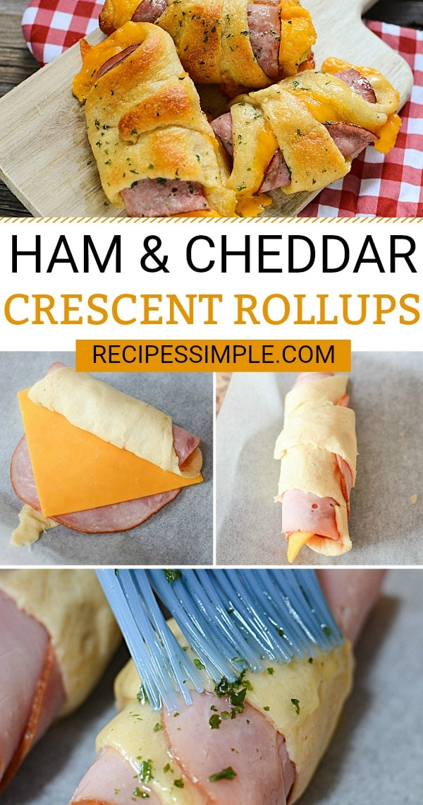 These Ham and Cheddar Crescents Roll-ups are the perfect quick and easy dinner when you need something fast. #crescentrollrecipes#hamandcheeserollups #hamandcheesecrescentrolls #easydinnerrecipes