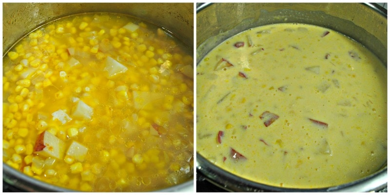 Instant Pot Corn Chowder Cooking