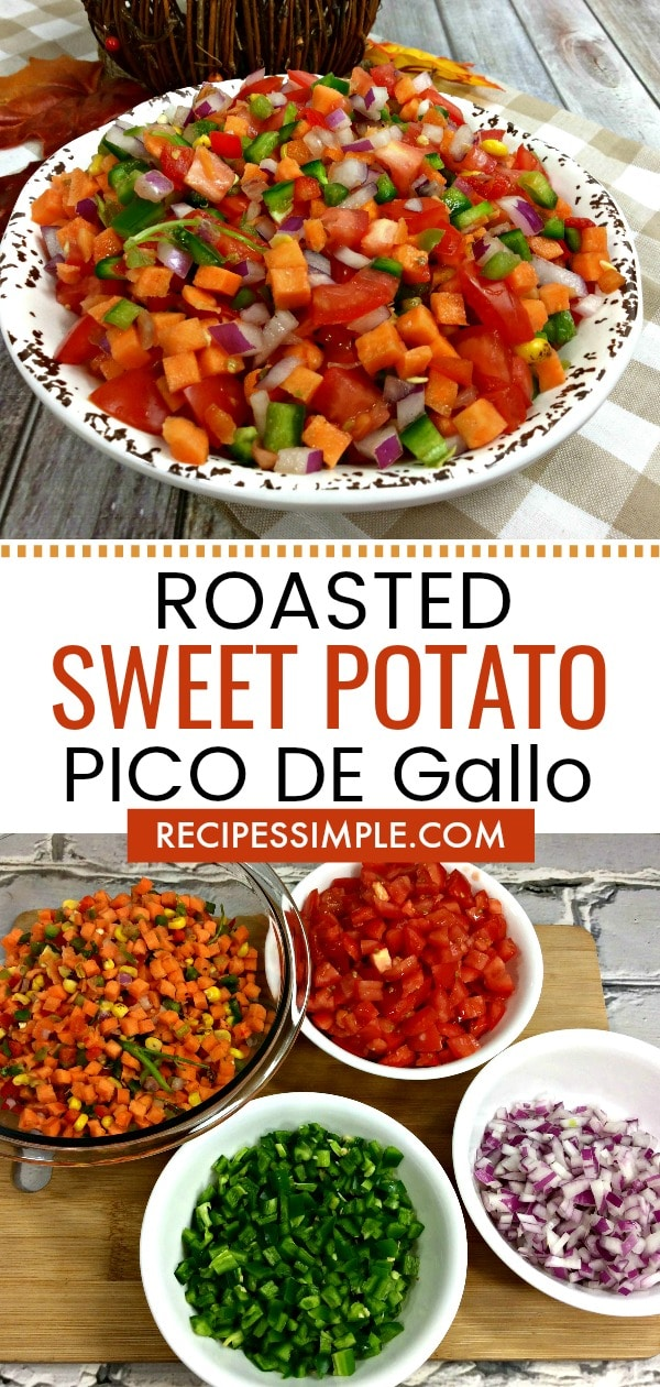 This delicious Roasted Sweet Potato Black Bean Pico de Gallo is full of flavor and is great served with tortilla chips or as a topping on tacos or salads. #appetizers #picodegallorecipes