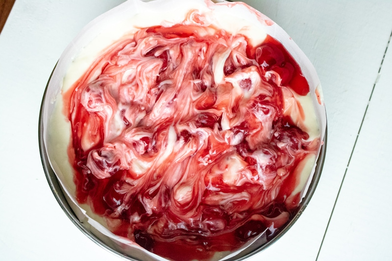 Cherry Pill Filling Swirled In Cheesecake