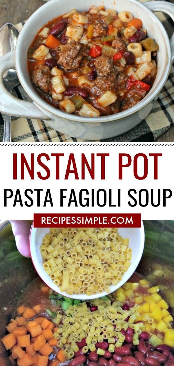 Instant Pot Pressure Cooker Pasta Fagioli Soup