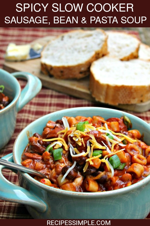 Slow Cooker Sausage Bean Pasta Soup