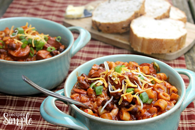 Spicy Slow Cooker Sausage, Bean And Pasta Soup