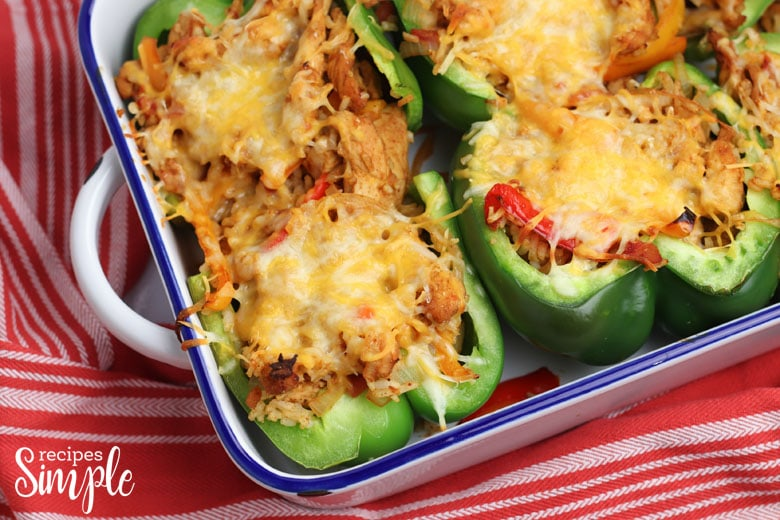 Chicken Fajita Stuffed Peppers Baked In Pan