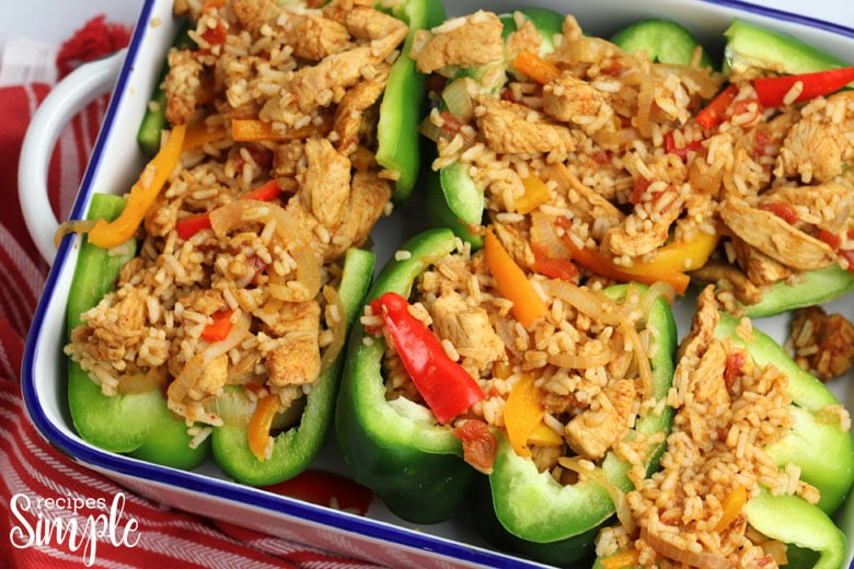 Chicken Fajita Stuffed Peppers in Pan