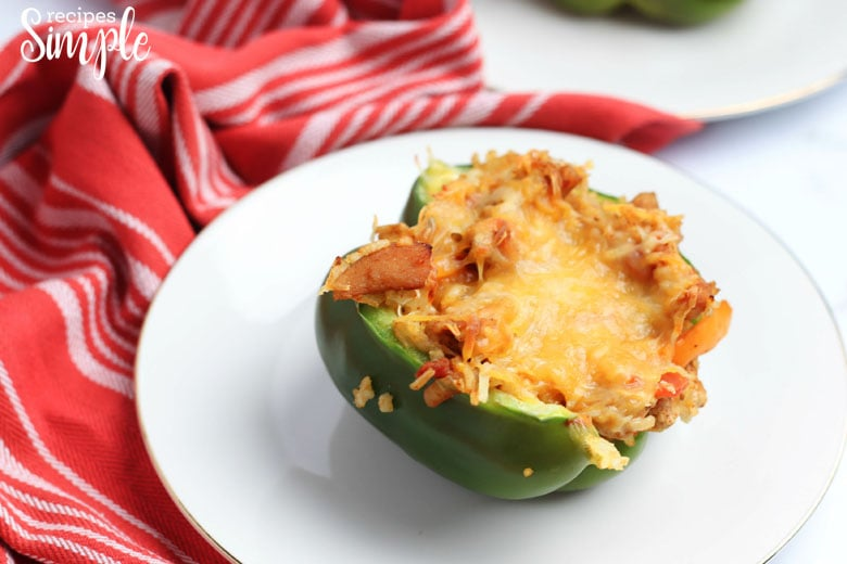 Chicken Fajita Stuffed Peppers On Plate