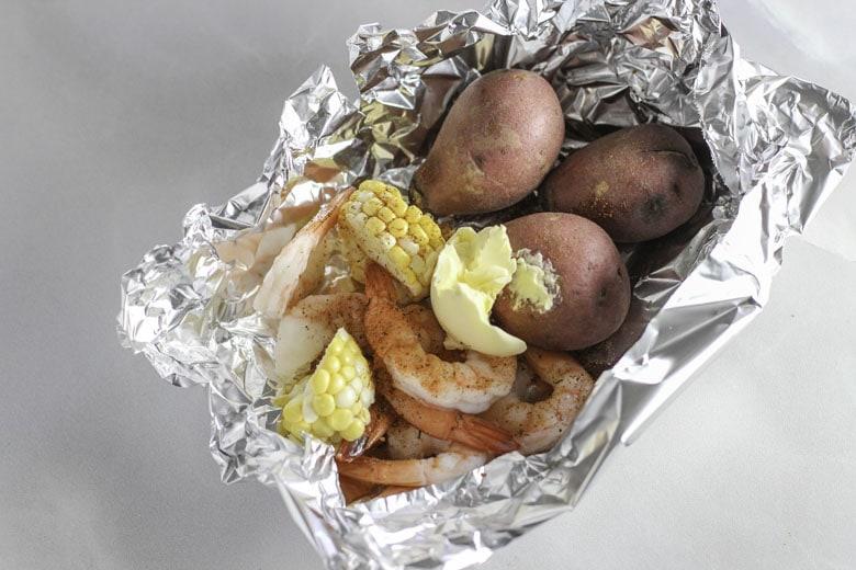 Grilled Shrimp And Vegetables In Foil Packet