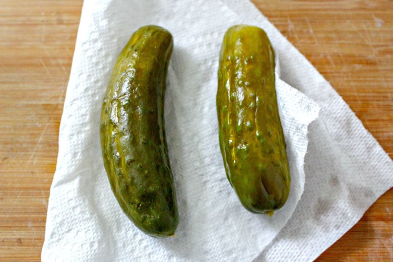 Dill Pickles on napkin
