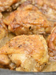 Keto Garlic Roasted Chicken Thighs Parmesan Gravy In Skillet